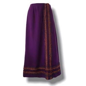 Arola Wool Maxi Skirt XS/S Purple/Burnt Orange